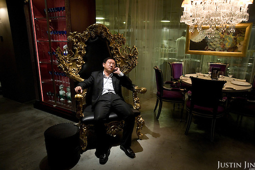A Chinese customer at the exclusive Lan Club restaurant, designed by world-renowed French designer Philip Starck. The restaurant serves fusion Chinese Sichuan food.