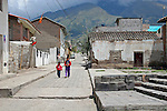 South America, Ecuador, Peguche. Street scene of Peguche, an Andean town known for it's weavers.