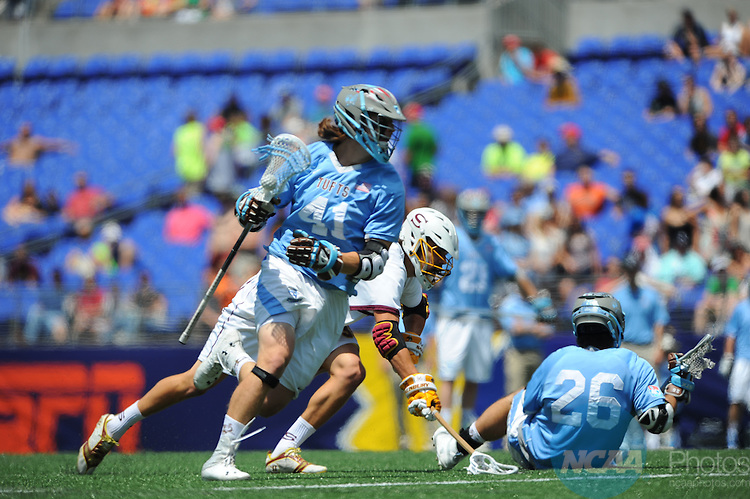 25 MAY 2014: Peter Gill (41) of Tufts University works the ball against Salisbury University during the Division III Men's Lacrosse Championship at M&T Bank Stadium in Baltimore, MD. Tufts defeated Salisbury 12-9 for the national title.  Larry French/NCAA Photos