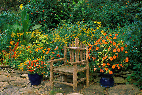 Rustic chair on patio surrounded by orange flowers in pots and flower beds