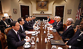 United States Vice President Joe Biden (3rd R) and Chinese Vice President Xi Jinping (5th L) hold an expanded bilateral meeting with other U.S. and Chinese officials in the Roosevelt Room at the White House February 14, 2012 in Washington, DC. While in Washington, Vice President Xi will meet with Biden, President Barack Obama and other senior Administration officials to discuss a broad range of bilateral, regional, and global issues.  .Credit: Chip Somodevilla / Pool via CNP