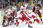 Matt O'Connor (BU - 29), Ryan Fitzgerald (BC - 19), Nick Roberto (BU - 15), Patrick MacGregor (BU - 4), Dalton MacAfee (BU - 23), Adam Gilmour (BC - 14) - The Boston College Eagles defeated the Boston University Terriers 3-1 (EN) in their opening round game of the 2014 Beanpot on Monday, February 3, 2014, at TD Garden in Boston, Massachusetts.