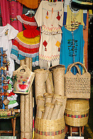 Straw goods and other Salvadoran handicrafts for sale in the Excuartel Market in downtown San Salvador, El Salvador