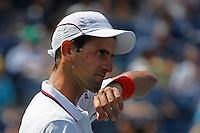 Novak Djokovic of Serbia reacts against  Kei Nishikori of Japan during men semifinal match at the US Open 2014 tennis tournament in the USTA Billie Jean King National Center, New York.  09.05.2014. VIEWpress