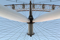 The London Eye (detail), London, UK , designed by David Marks and Julia Barfield, opened 2000 to celebrate the Millenium, stands 135 metres high on the banks of the River Thames. The rim is supported by tie rods; each of the 32 capsules represents a London borough. Picture by Manuel Cohen.The use of this image may require further clearance / Merci de vous assurer que l'utilisation finale de l'image ne necessite pas d'autorisation supplementaire.