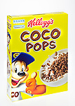 Box of Kellog's Coco Pops Breakfast Cereal - Jan 2013.