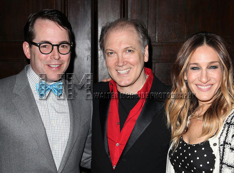 Matthew Broderick, Charles Busch & Sarah Jessica Parker attending 'Love 'n' Courage' the 10th Annual Benefit for the Theater for the New City Emerging Playwrights Program Celebrating Charles Busch at the National Arts Club in New York City on 2/25/2013