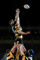 Max Northcote-Green of Bath United rises high to win lineout ball. Aviva A-League match, between Bath United and Wasps A on December 28, 2016 at the Recreation Ground in Bath, England. Photo by: Patrick Khachfe / Onside Images