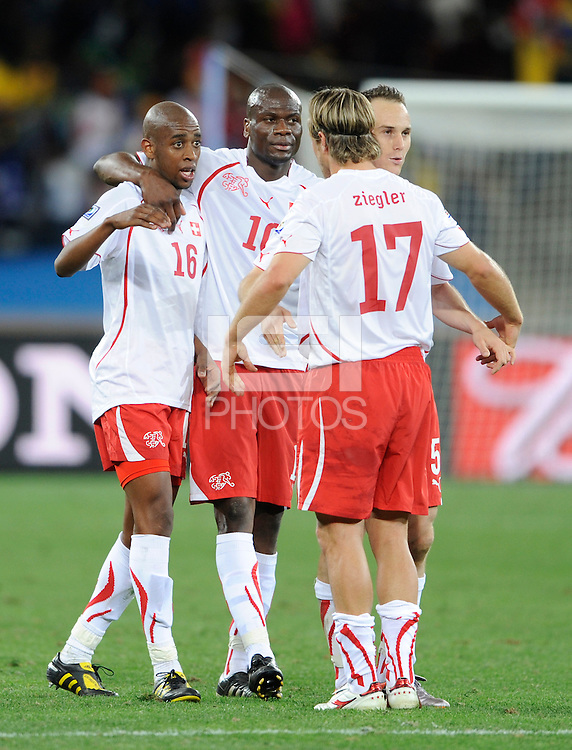 Gelson Fernandes of Switzerland celebrates at the end of the match with team mates