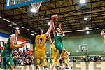 Kieran Donaghy, Tralee Warriors, gets up to score with one hand against UCD Marian in a game that went down to the wire last Saturday night at Tralee Sports Complex, with the Tralee side winning at the end.