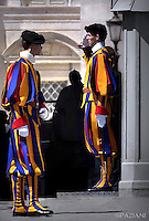 Pope Francis  Pontifical Swiss Guard The Corps of the Pontifical Swiss Guard,during his weekly general audience in St. Peter square at the Vatican, Wednesday.April 20, 2016.