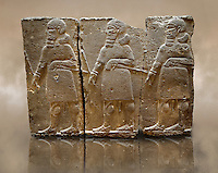 Sculpted Assyrian relief panels of mace bearers from Hadatu ( Aslantas ) around 800 B.C. Istanbul Archaeological museum Inv No. 14-10