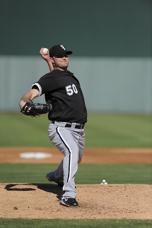 TEMPE, AZ - MARCH 4:  John Danks #50 of the Chicago White Sox pitches against the Los Angeles Angels on March 4, 2010 at Tempe Diablo Stadium in Tempe, Arizona. (Photo by Ron Vesely/MLB Photos via Getty Images)  *** Local Caption *** Lucas Harrell