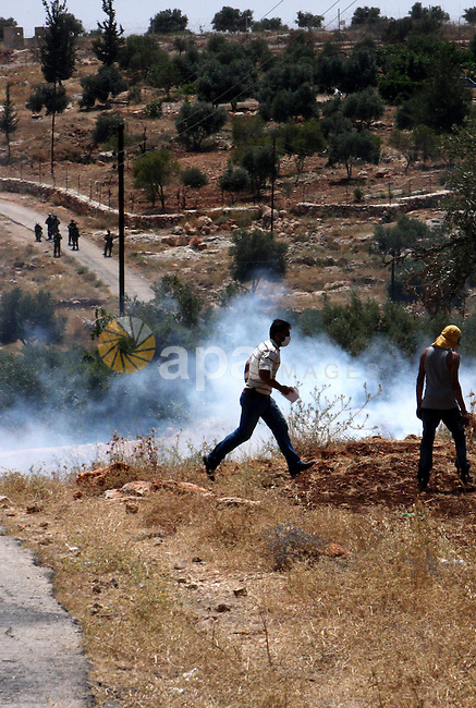 Palestinian protestors try to avoid tear gas fired by Israeli troops during a demonstration against Israel's separation barrier in the West Bank village of Bilin near Ramallah, May 28, 2010. Photo by Wagdi Eshtayah