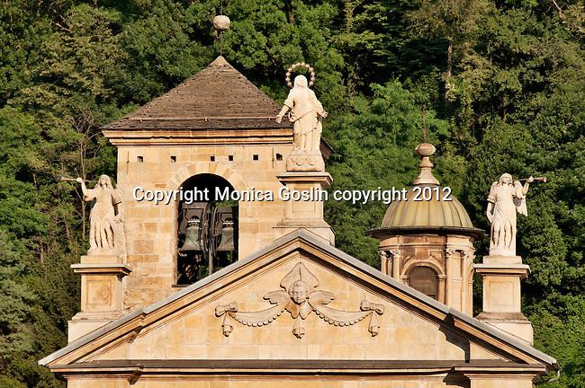 Statues on the Church of Saint Peter and Saint Stephen in Bellinzona, Switzerland