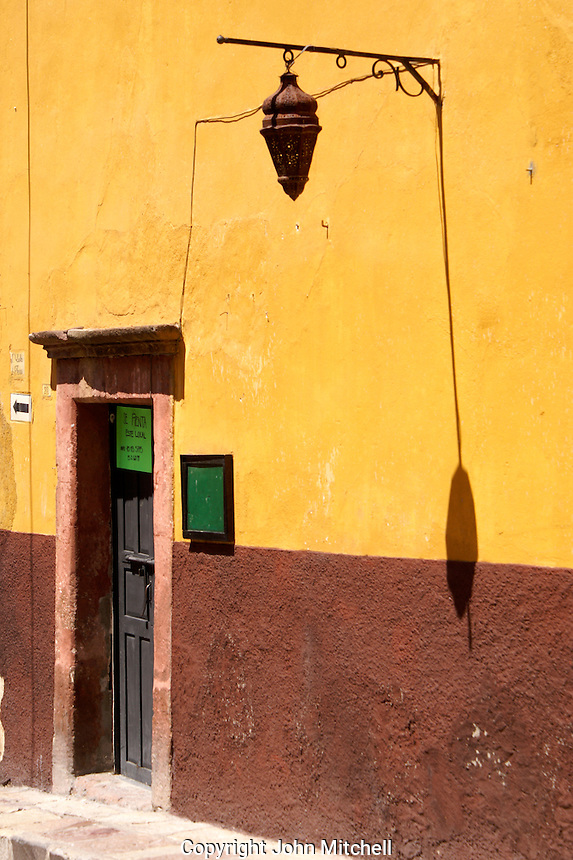 Street lamp and shadow on wall, San Miguel de Allende, Mexico