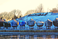 Oakville sailboats are put away for the winter at the opening to the harbour.