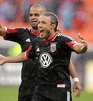 D.C. United midfielder Nick Deleon (18) celebrates his score in the 36th minute of the game. D.C. United defeated The New York Red Bulls 4-1 at RFK Stadium, Sunday April 22, 2012.