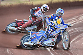 Heat 5: Ben Hopwood (blue) ahead of Eddie Castro - Hackney Hawks vs Team America - Speedway Challenge Meeting at Rye House - 09/04/11 - MANDATORY CREDIT: Gavin Ellis/TGSPHOTO - Self billing applies where appropriate - Tel: 0845 094 6026
