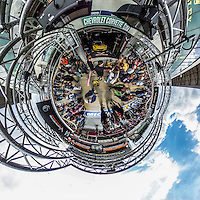 Corvette Garage, 360 degree, Little Planet, taken with Ricoh Theta S 360 degree camera, Le Mans, France, June 2016.  (photo by Brian Cleary/www.bcpix.com)