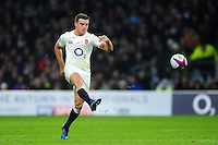 George Ford of England puts boot to ball. Old Mutual Wealth Series International match between England and South Africa on November 12, 2016 at Twickenham Stadium in London, England. Photo by: Patrick Khachfe / Onside Images