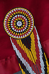 Close up of Native American Pow Wow Regalia bead work. an example of ethnic pride, heritage, celebration, and traditional folk art crafts.