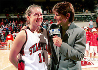 Jamie Carey is interviewed by Fox Sports during the 1999-2000 women's basketball season at Maples Pavilion in Stanford, CA.