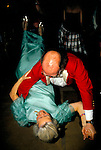 Warwick Hunt Ball couple doing the rock and roll. Woman is flung backwards over the man knee.