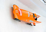 18 December 2010: Esme Kamphuis pilots her 2-man bobsled for the Netherlands, finishing 7th at the Viessmann FIBT World Cup Bobsled Championships on Mount Van Hoevenberg in Lake Placid, New York, USA. Mandatory Credit: Ed Wolfstein Photo