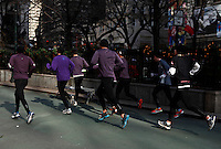 A group of men jogging as Low temperatures hit New York, United States. 23/01/2013 Photo by Kena Betancur/VIEWpress.