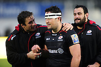 Marcelo Bosch of Saracens has a word with team-mate Brad Barritt after the match. Aviva Premiership match, between Saracens and Sale Sharks on February 25, 2017 at Allianz Park in London, England. Photo by: Patrick Khachfe / JMP
