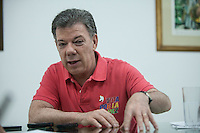 BOGOTA, Colombia. 2nd June 2014. Juan Manuel Santos, is interviewed by journalists from El Heraldo in Barranquilla continuing his tour of the election for the second round SANTOS Campaign/Juan José Horta / VIEWpress TO EDITORS : THIS PICTURE WAS PROVIDED BY A THIRD PARTY.  THIS PICTURE IS DISTRIBUTED EXACTLY AS RECEIVED BY VIEWpress, AS A SERVICE TO CLIENTS
