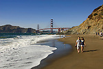 San Francisco: Baker Beach with Golden Gate Bridge in background.  Photo # 2-casanf83410.  Photo copyright Lee Foster