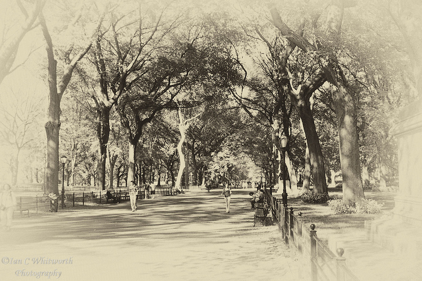 An aged / antique view of Central Park in NYC.