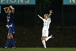 24 September 2009: North Carolina's Alyssa Rich (00) reacts after scoring the game winning goal. The University of North Carolina Tar Heels defeated the Duke University Blue Devils 2-1 in sudden victory overtime at Fetzer Field in Chapel Hill, North Carolina in an NCAA Division I Women's college soccer game.