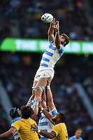Juan Martin Fernandez Lobbe of Argentina rises high to win lineout ball. Rugby World Cup Semi Final between Argentina v Australia on October 25, 2015 at Twickenham Stadium in London, England. Photo by: Patrick Khachfe / Onside Images