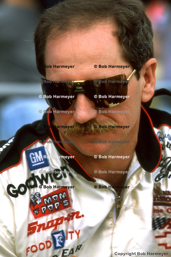 BROOKLYN, MI - JUNE 23: Dale Earnhardt at the Miller 400 on June 23, 1996, at the Michigan International Speedway near Brooklyn, Michigan.