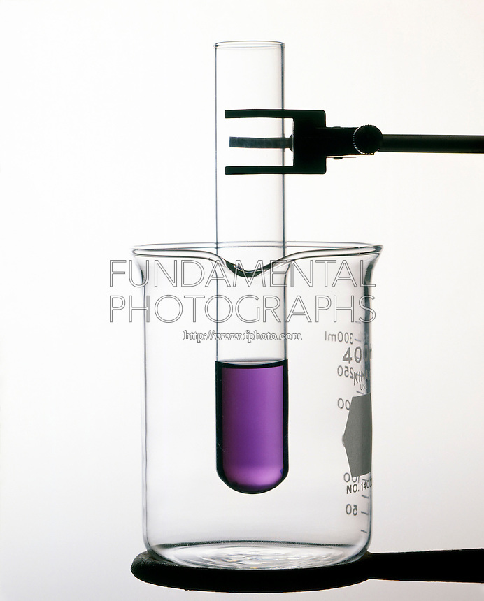 COBALT CHLORIDE: TEMPERATURE EQUILIBRIUM IN HCl (1 of 3)<br /> At Room Temperature.<br /> [Co(H2O)6 2+] + [4Cl-] = [CoCl4 2-] + [6H2O]. At room temp. both the pink Co(H2O)6 2+ &amp; blue CoCl4 2- are present in significant amounts creating a violet colored solution