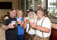 Wisconsin Brewing Company founder Carl Nolen and wife, Kathy Hiteman, toast the creation of Depth Charge Scotch Ale by brewmasters Kirby Nelson and Mike McGuire (L-R) on Sunday in Verona, Wisconsin