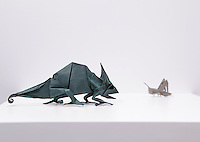 """Surface to Structure origami exhibition at Cooper Union, New York. Gallery view. The Law of Survival designed and folded by Seo Won Seon """"Redpaper"""" 2013."""