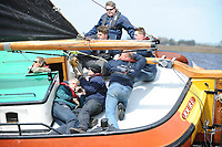 ZEILSPORT: LANGWEER: 22-04-2017, Skûtsjesilen Langweer, Skûtsje Waaksdom (Joure), schipper Ulbe Zwaga, ©foto Martin de Jong