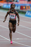 Shelly-Ann Fraser-Pryce of Jamaica during the Womens 100m race at the Sainsbury Anniversary Games, Olympic Stadium, London England, Saturday 27th July 2013-Copyright owned by Jeff Thomas Photography-www.jaypics.photoshelter.com-07837 386244. No pictures must be copied or downloaded without the authorisation of the copyright owner.