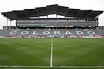 6 April 2007: View from field level, looking at the stands, luxury boxes, and press box on the west side of the stadium. The stadium at Dick's Sporting Goods Park in Denver, Colorado is ready for the season opener between DC United and the Colorado Rapids to be played Saturday, April 7.
