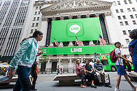 The New York Stock Exchange is decorated for the Japanese messaging company Line's initial public offering on Thursday, July 14, 2016. Line Corp., a popular messaging app in Japan is owned by South Korean Naver Corp. Line has 218 million active users monthly, with Japan, Taiwan and Indonesia accounting for two-thirds of them.   (© Richard B. Levine)