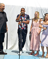 MIAMI, FL - JULY 25: David Ayer, Will Smith, Margot Robbie and Karen Fukuhara attends the 'Suicide Squad' Wynwood Block Party and Mural Reveal with cast on July 25, 2016 in Miami, Florida.  Credit: MPI10 / MediaPunch