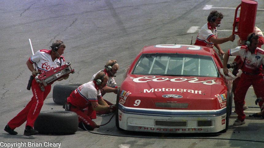 Bill Elliott pits pit road action Pepsi Firecracker 400 at Daytona International Speedway in Daytona Beach, FL in July 1988. (Photo by Brian Cleary/www.bcpix.com)