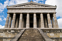 """Walhalla Temple, comissioned in 1826 by King Ludwig I of Bavaria is modeled after the Parthenon to serve  as a """"Germanic hall of fame."""" The temple contains 191 busts and plaques of famous Germanic speaking people."""