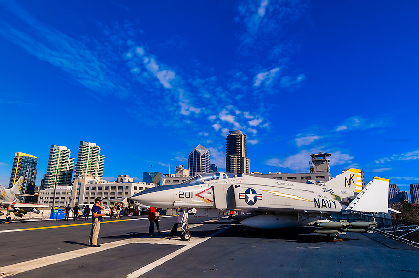 USS Midway Museum (aircraft carrier), Embarcadero, San Diego, California USA.