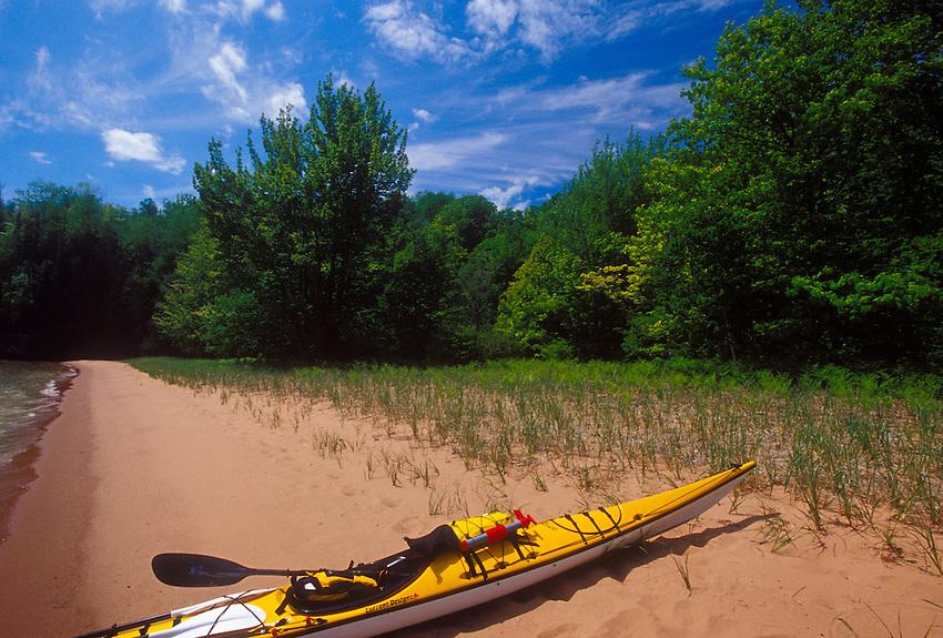 Sea kayaks beached on Stockton Island in the Apostle Islands National Lakeshore near Bayfield, Wis.