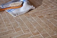 Antiquera, a handmade mosaic shown in honed Lavigne, is part of the Miraflores Collection by Paul Schatz for New Ravenna.<br />